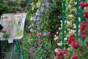 Pintor en el jardín de Monet, Giverny